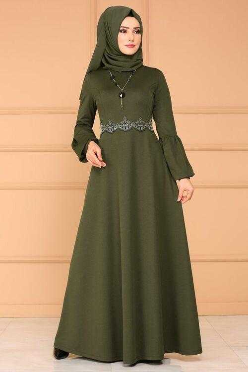 Modaselvim Elbise Gupur Detay Kolyeli Elbise 3025pm271 Haki Muslim Fashion Outfits Fashion Dresses Fashion