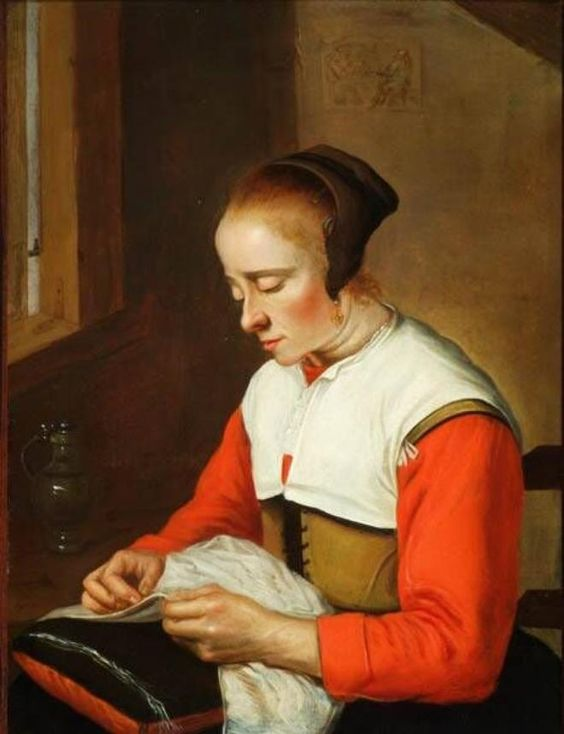 Reynier Hals, Woman with Needlework, ca. 1665. Frans Hals Museum #franshalsmuseum #haarlem #art