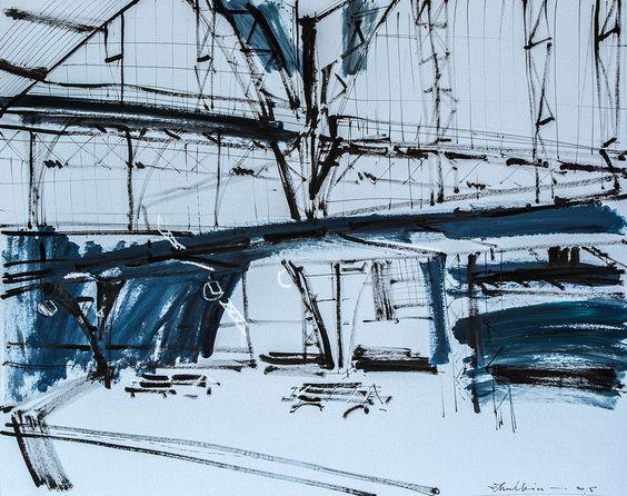 Frankfurt Station I  acrylic and ink on paper  cm 50x60 di Helen Shulkin Affascinata dalla luce che scompone la realtà non si lascia mai scappare l'attimo di ispirazione.  #arte #artecontemporanea #arredare #arte #regalare  #regalarearte #arredare