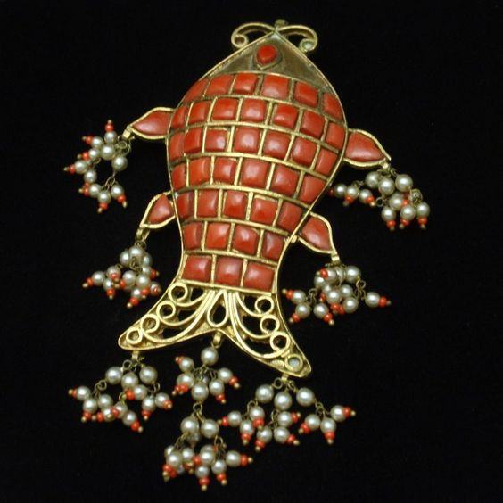 Large Fish Pendant with Seed Beads and Inlaid Stones