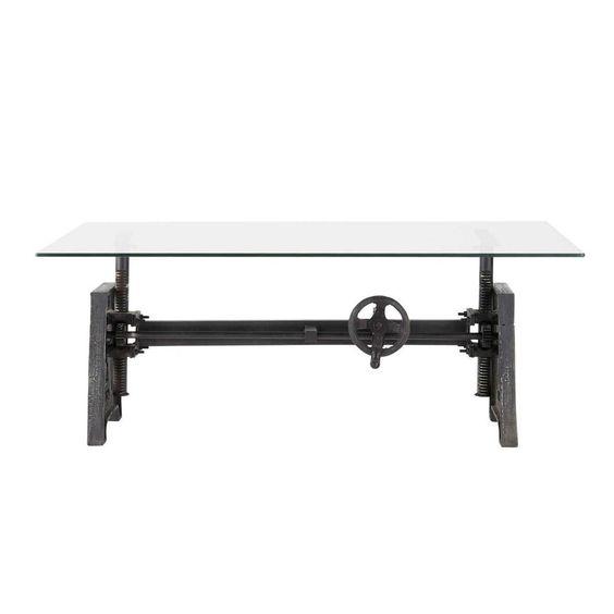 Tavolo basso stile industriale in vetro e metallo L 135 cm