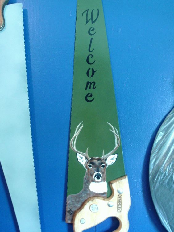Hand-Painted Deer Saw-Blade, Saw-Blade with Welcome Sign by PaulaGailCreations…