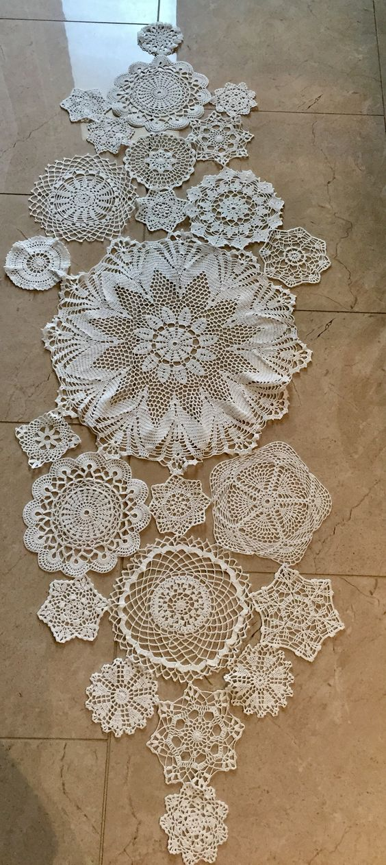 Crochet Doily Table Runner, made using 24 assorted size doilies stitched together: