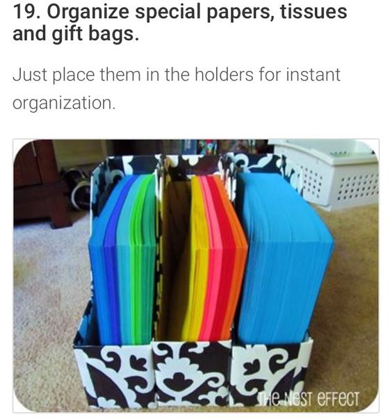Organize gift paper with magazine racks