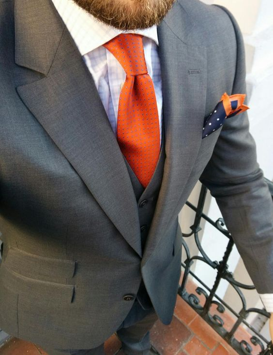 sharp orange necktie with grey suit gentlemanjoecom