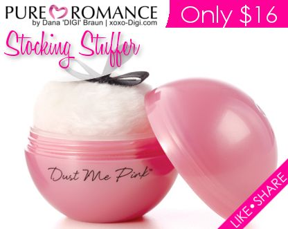 Dust Me Pink® kissable body powder introduces fun, playful, kissable flirtation to your lovemaking! Use the included sensual feather to dust each other with the kissable powder, and then take your time exploring each other's bodies by kissing off the sweet flavor! http://danabraun.pureromance.com