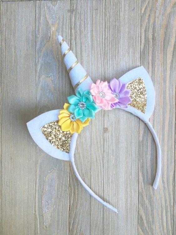 Unicorn Birthday Birthday unicorn headband Baby Unicorn Headband Unicorn Felt newborn unicorn headband gold unicorn Unicorn Headband