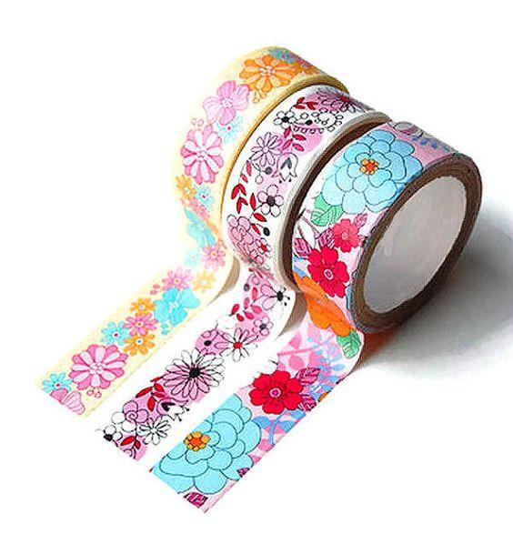Washi tape set of 3, washi tape lot of 3, scrapbooking, decorating, packaging, yellow floral washi tape