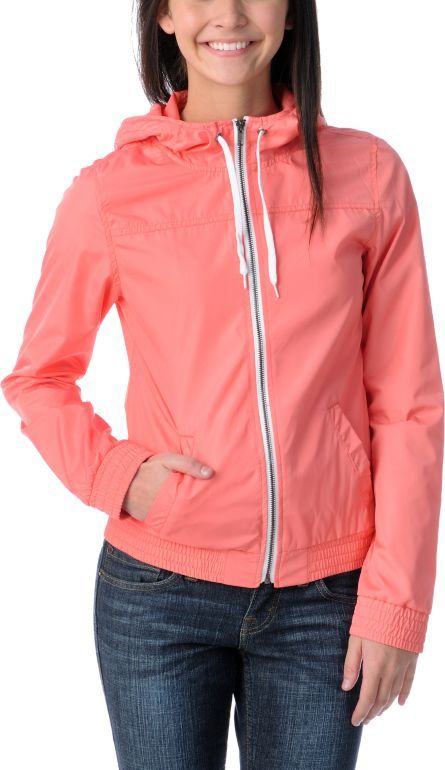 Zine Girls Peach Windbreaker Jacket Zumiez | Zumiez Exclusives