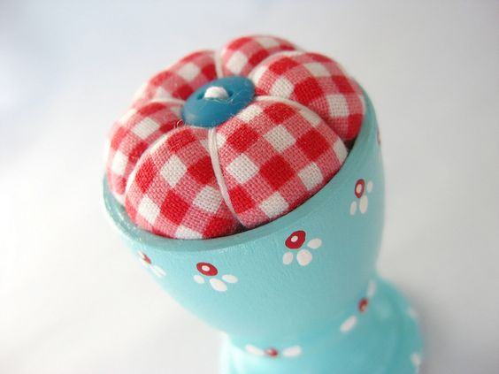 Red gingham and aqua egg cup pin cushion ~ adorable!