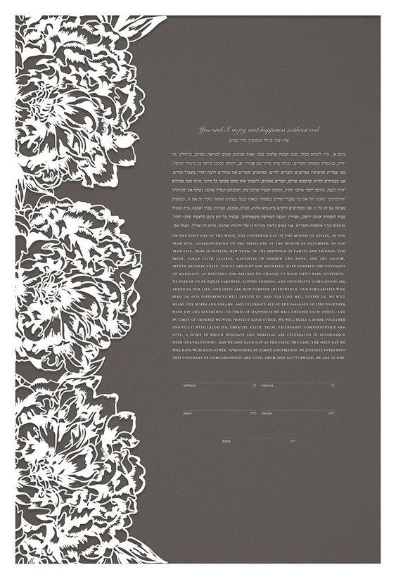 Papercut Ketubah - Peonies