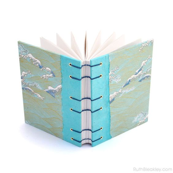 Coptic Stitch Journal Aqua Waves Handmade Book by RuthBleakley