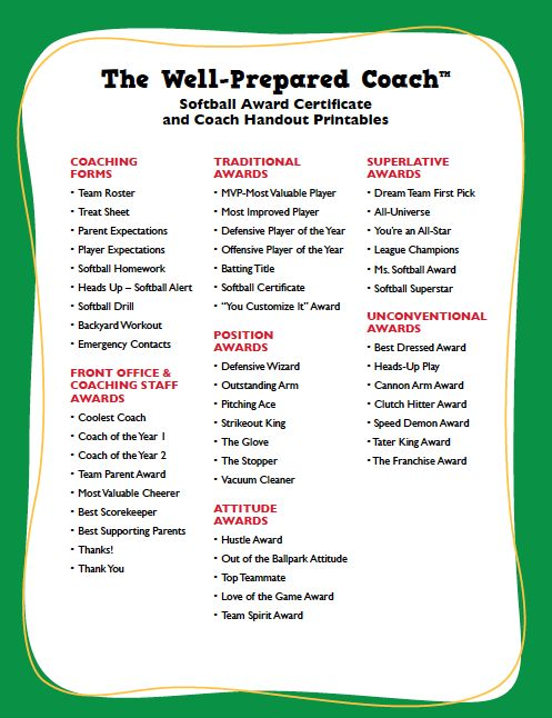 free softball certificates to print