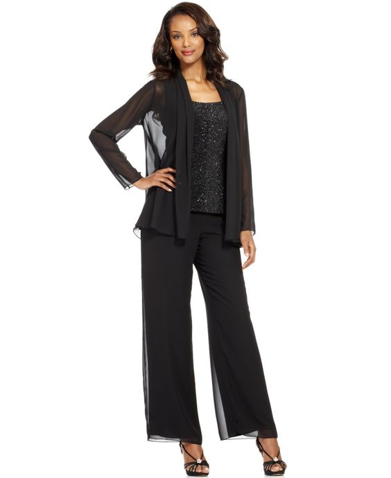 Patra Evening Suit Sleeveless Beaded Top Chiffon Jacket &amp Wide