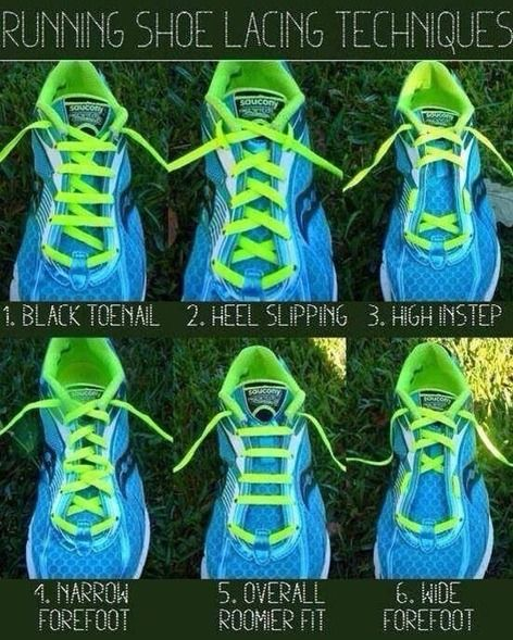 6 shoe lacing techniques to help you with running comfort. I have used the heel slipping technique for years and it works greatt! #running @RunToTheFinish- Amanda Brooks