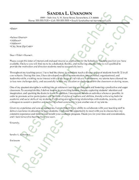 26 Substitute Teacher Cover Letter Teacher Cover Letter Example Teaching Cover Letter Cover Letter Teacher