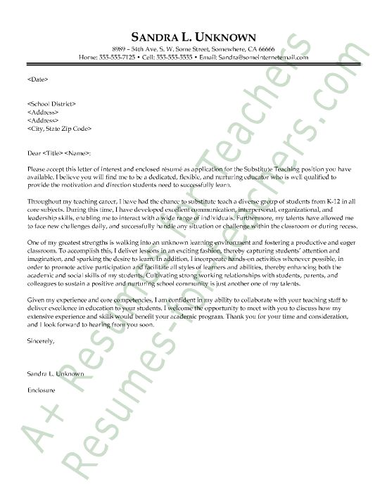 Substitute Teacher Cover Letter Sample Teacher And
