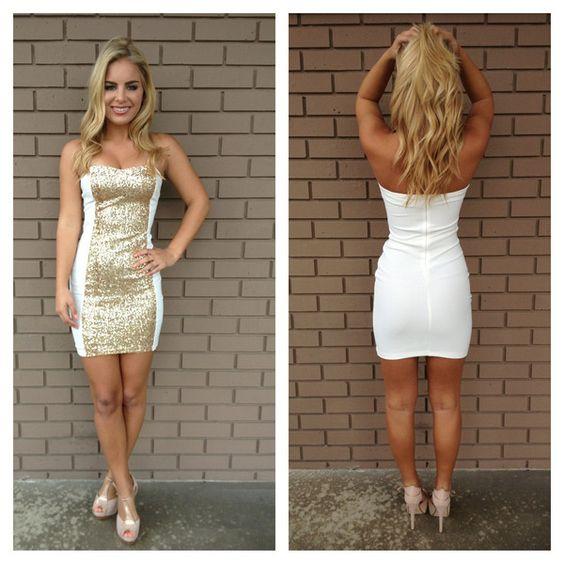 White Strapless Sequin Block Mini Dress