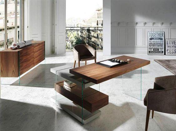 Escritorio de diseño en madera noble, lacada y cristal. ¿Locura o Pasión por el diseño Italiano?
