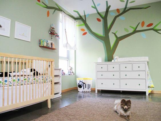 kinderzimmer ideen wandgestaltung babyzimmer wandmalerei baum ... - Kinderzimmer Ideen Baum