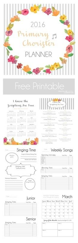 Mustache Chorister: Primary Chorister Planner for year 2016; free printable with so many useful pages!