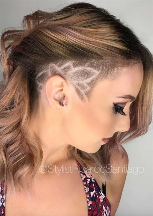 Asymmetrical Side Shave With Design Undercut Long Hair Undercut Hairstyles Long Hair Styles