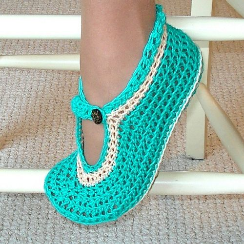 Crocheted Moccasin Slippers - Free Crochet Pattern: