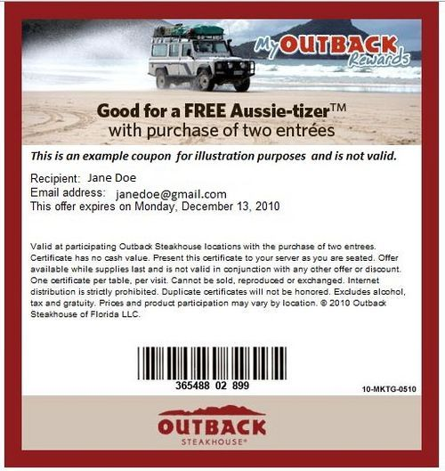 image relating to Outback Coupons $10 Off Printable identified as Coupon outback steakhouse 2019