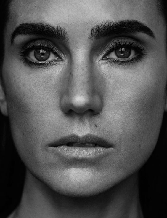Jennifer Connelly stuns in a closeup black and white shot with a minimal makeup look on Grazia Magazine December 2015 issue Photoshoot