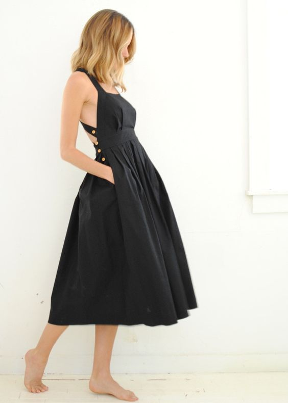 sunroomaustin.com | Black Traveling Pinafore Dress - Electric Feathers: