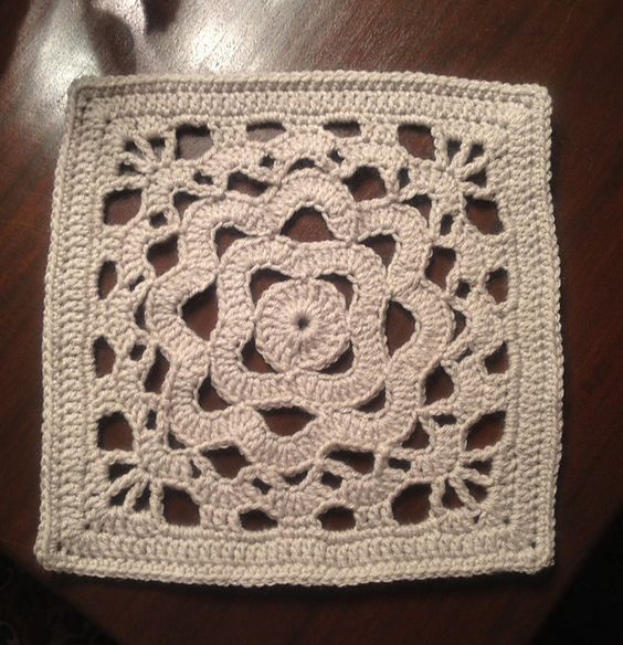 """Ravelry: 12"""" Ripples on a Coral Reef Square. From Chain Reaction Crochet Project."""