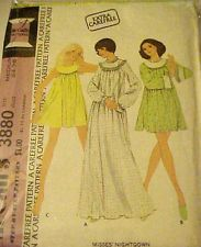 #3880 VINTAGE McCALLS MISSES NIGHTGOWN , SHORTIE  SEWING PATTERN SIZE 12-14