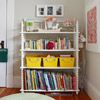 colorful bins for organizing on bookshelf