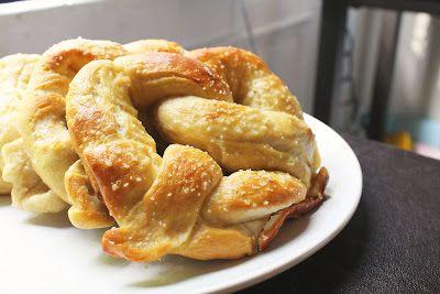 Homemade soft pretzels.  Pretzels, AT HOME.
