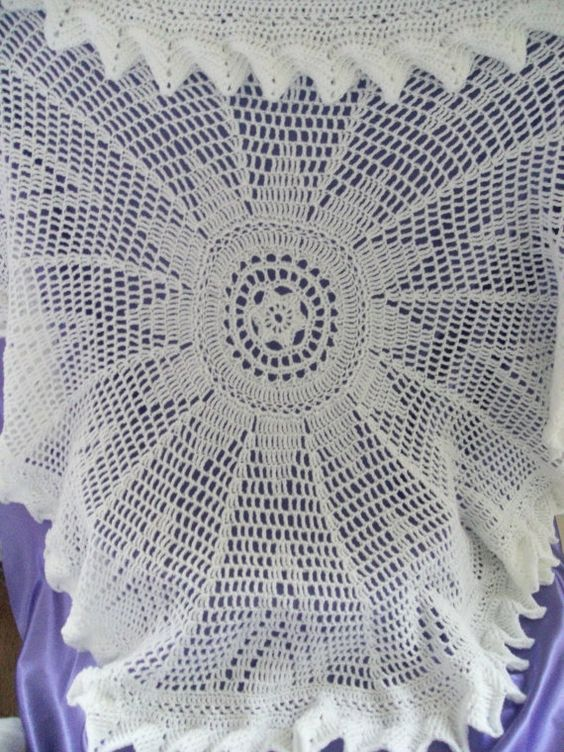 Baby Shawl Patterns To Crochet : Circular Crochet Baby Shawl in White Approx 48 inches in ...