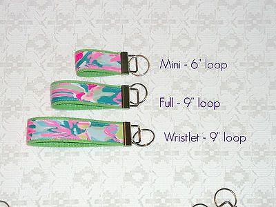 Preppy Key Fob Key Chain w/ Lilly Pulitzer Fabric Many Prints 3 Sizes