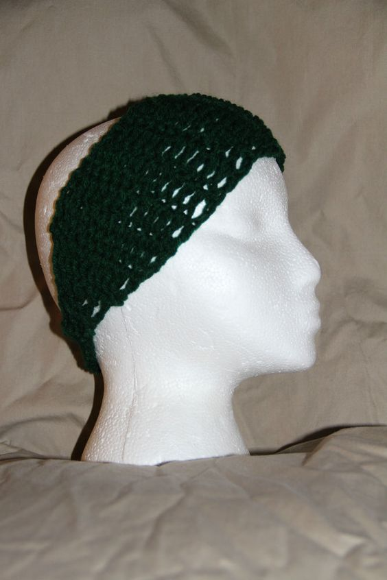 Crochet Unisex Teen/Adult headband earwarmer - fits most - Hunter Green #homemade #earwamerheadband #pmscrafts74
