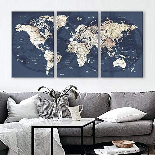 New Original Boxcolors Large 30 X 60 3 Panels 30x20 Ea Art Canvas Print Gray Yellow Old Map World Push Pin Travel Wall Decor Home Living Room Framed 1 5 Depth In 2020