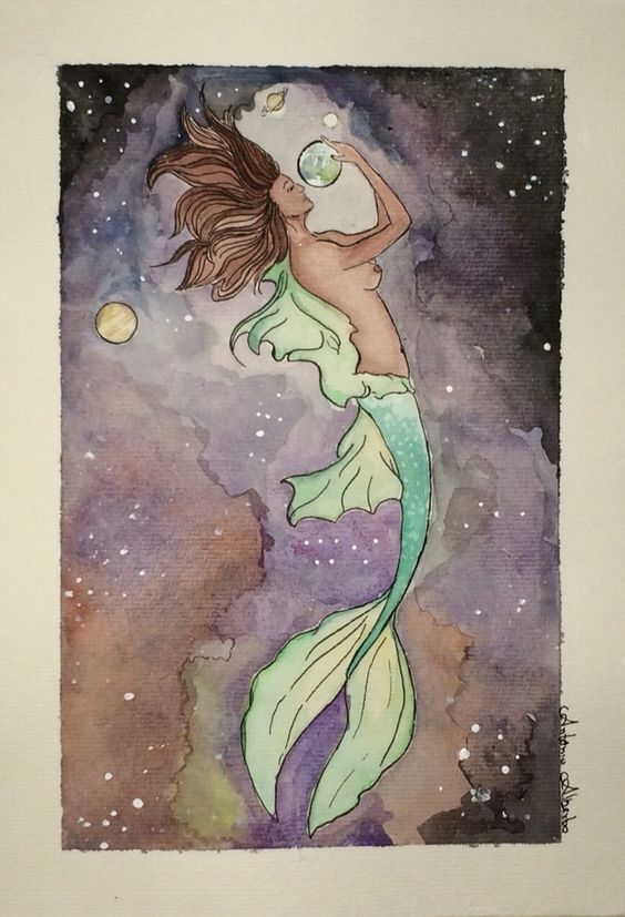 Mermaid Galaxy Watercolour