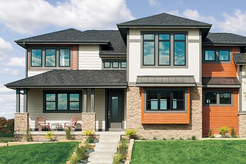 Black Windows And Cedar Accent House Window Design Black Window Frames House Styles