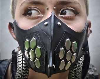 Steampunk cyberpunk leather mask FREE SHIPPING