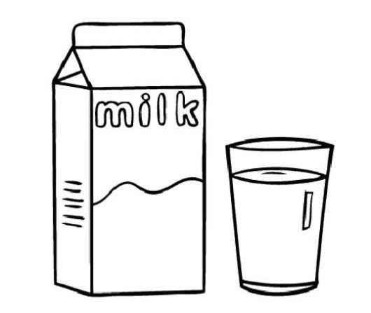 A Box And A Glass Of Milk Coloring Sheet Milk Drawing Coloring Pages Milk Color
