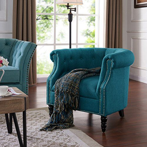 Domesis Chapman Chair In Peacock Blue Linen Tufted Accent Chair