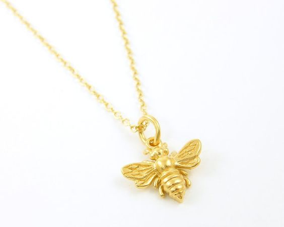 Tiny Bee Necklace Gold Bumblebee Necklace by BeautifulByCharlene