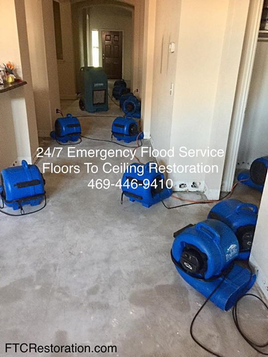 Drying Out Our Frisco Client S Home After The Washing Machine Did Significant Water Damage New Floors Are Ceiling Restoration Damage Restoration Water Damage