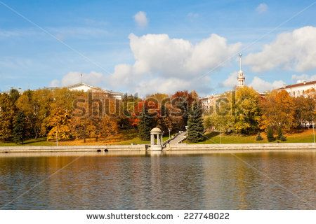 View of Svisloch river and a bright autumn park in central part of Minsk, a capital of Belarus.