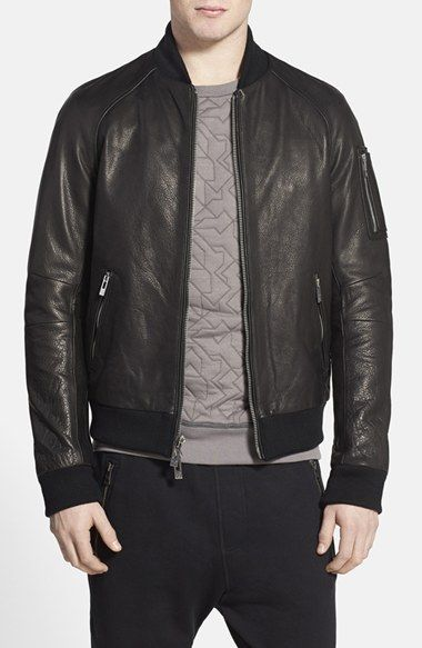 Men&39s Rogue Washed Black Leather Baseball Jacket | Nordstrom
