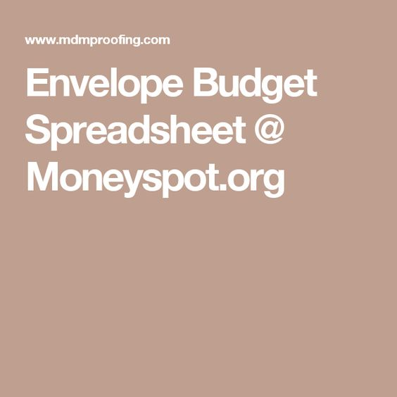 Envelope Budget Spreadsheet @ Moneyspot.org