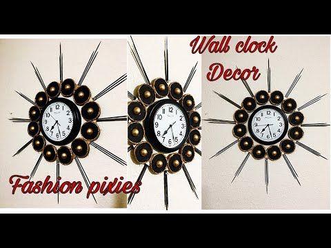 Diy Wall Clock Decoration Unique Wall Hanging Craft Room Decor Idea Home Decor Fashion Pixies Youtube Diy Clock Wall Clock Wall Decor Wall Clock