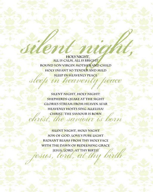 Silent Night lyrics to frame   Christmas Decor + Activities   Pinterest   Decorating ideas ...